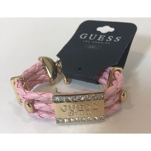 Guess Braided Faux Leather Logo Crystal Bracelet